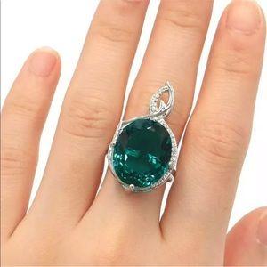 Blue Aquamarine (Teal), 925 silver Ring